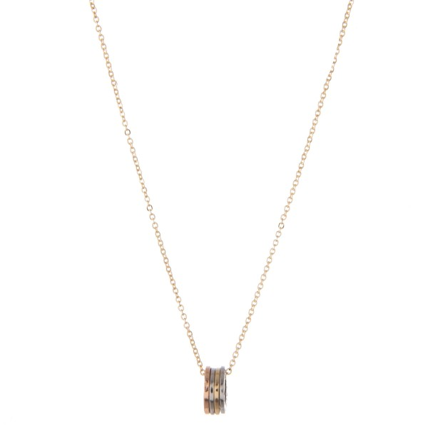 """Multi Metal Tone Ring of Hope Necklace Featuring Four Rings Stamped: Dream, Believe, Hope & Peace.  - Approximately 14"""" L - 3"""" Adjustable Extender"""