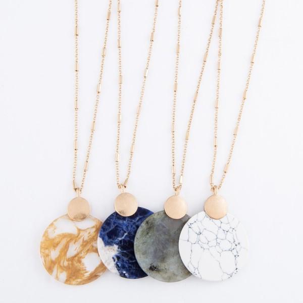 "Semi Precious Glass Stone Pendant Necklace.  - Pendant 1.5"" in Diameter - Approximately 26"" L  - 3"" Adjustable Extender"