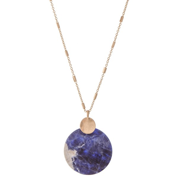 "Semi Precious Glass Stone Pendant Necklace.  - Pendant 1.5"" in Diameter - Approximately 26"" L  - 3"" Adjustable Extender"