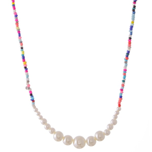 "Seed Beaded Pearl Necklace.  - Approximately 16"" L  - 3"" Adjustable Extender"