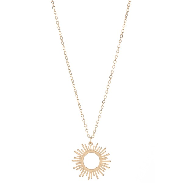 "Long Sunburst Pendant Necklace.  - Pendant 1"" in diameter - Approximately 30"" L - 3"" Adjustable Extender"