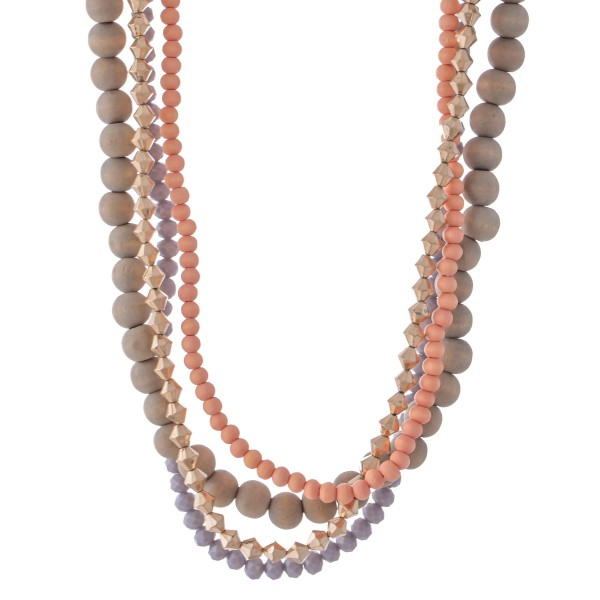 "Short Beaded Layered Statement Necklace Featuring Wood Beads.  - Approximately 18"" L  - 3"" Adjustable Extender"