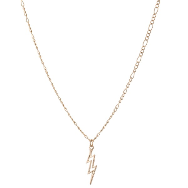 "Figaro Lightning Bolt Chain Necklace.  - Pendant .5""  - Approximately 16"" L  - 3"" Adjustable Extender"