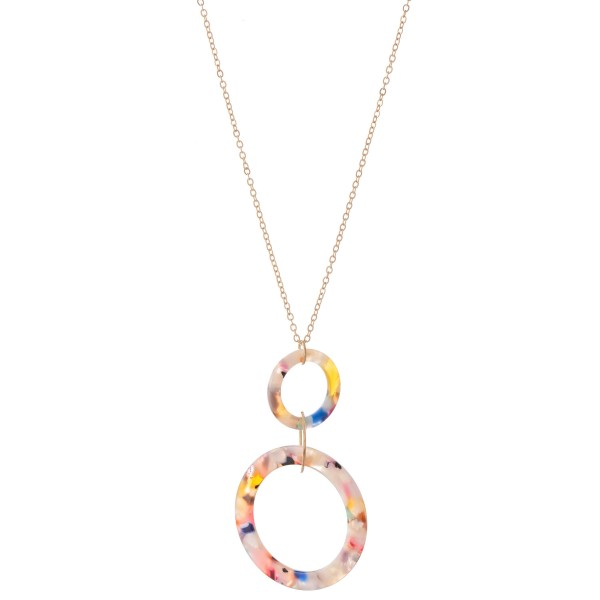 "Long Resin Link Pendant Necklace.  - Pendant 3""  - Approximately 34"" L  - 3"" Adjustable Extender"
