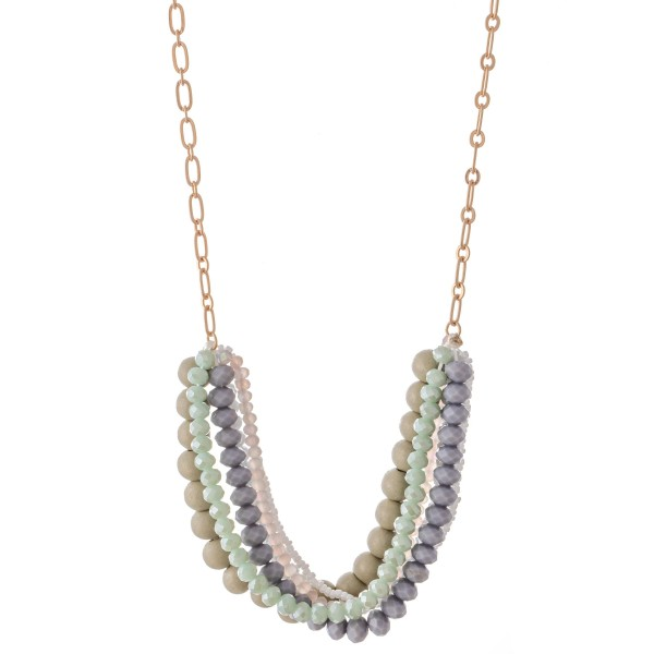 "Multi-Strand Beaded Bib Necklace Featuring Wood Details.  - Approximately 20"" L  - 3"" Adjustable Extender"
