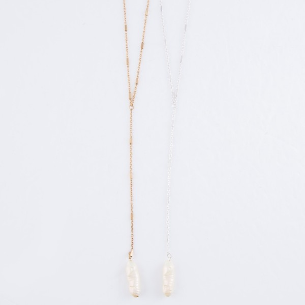 "Long Faux Freshwater Pearl Y Necklace.  - Pearl 1"" - Approximately 28"" L  - 3"" Adjustable Extender"