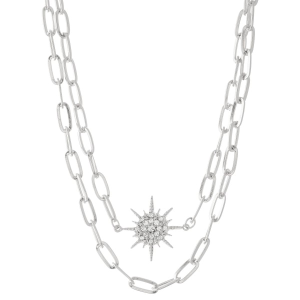 "Chain Link Layered Rhinestone Starburst Necklace.  - Approximately 16"" L  - 3"" Adjustable Extender"