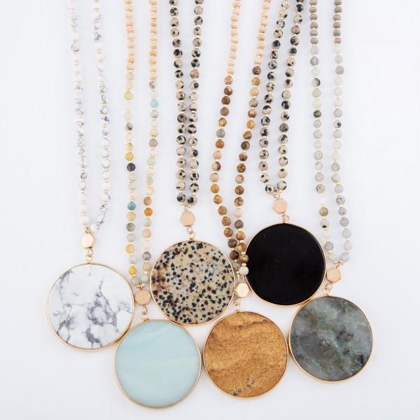 "Semi Precious Beaded Stone Pendant Necklace.  - Pendant 1.5"" in Diameter - Approximately 32"" L  - 3"" Adjustable Extender"