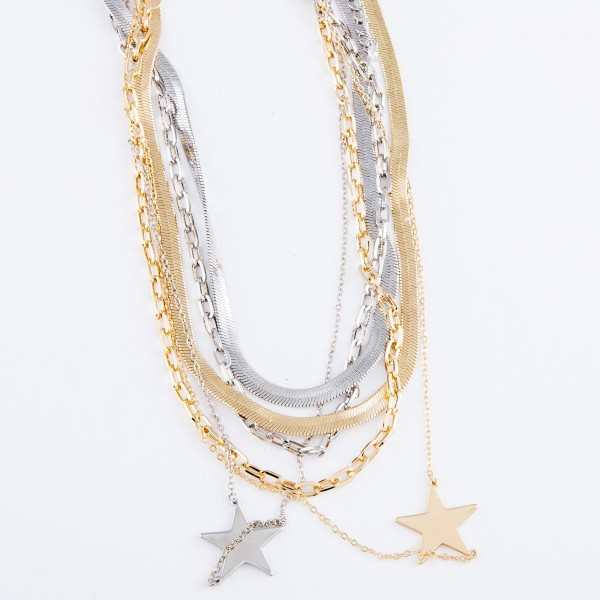 "Layered Herringbone Chain Link Star Necklace.  - Star (approx) 1"" - Shortest Layer 16"" L  - Approximately 18"" L Overall - 3"" Adjustable Extender"