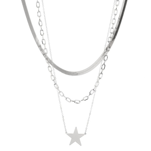 Wholesale layered Herringbone Chain Link Star Necklace Star approx Shortest Laye
