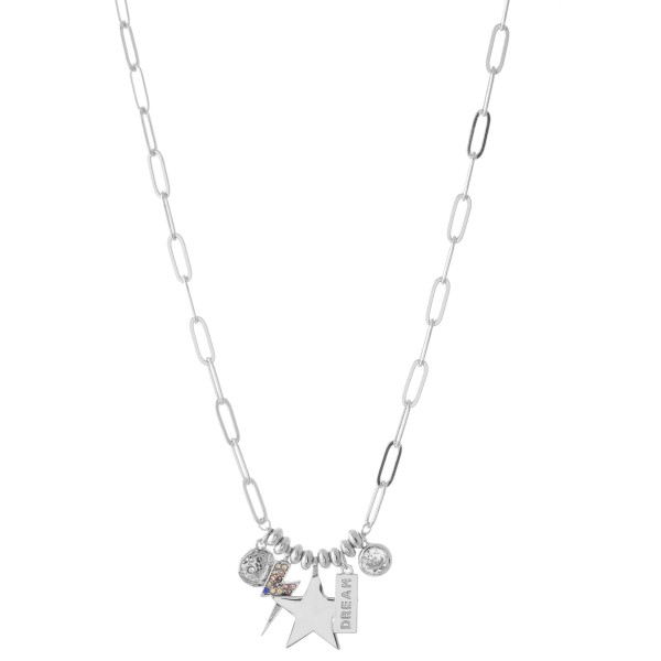 Wholesale chain Link Necklace Star Lightning Bolt Rhinestone Charm Details Charm