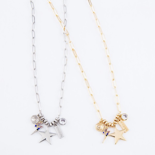 "Chain Link Necklace Featuring Star, Lightning Bolt & Rhinestone Charm Details.  - Charm 1cm - .5"" - Approximately 18"" L - 2.5"" Adjustable Extender"