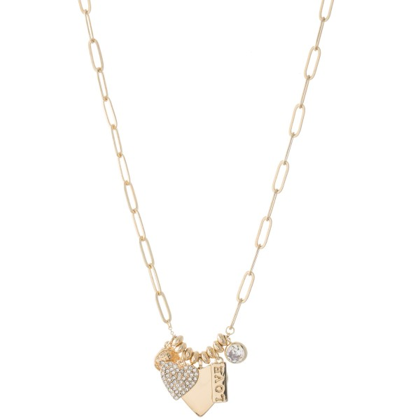 "Chain Link Necklace Featuring Heart & Rhinestone Charm Details.  - Chams 1cm - .5"" - Approximately 18"" L - 2.5"" Adjustable Extender"