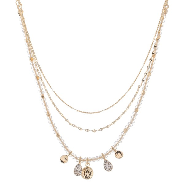 """Layered Coin Necklace Featuring Pave Teardrop Accents.  - Approximately 18"""" L  - 3"""" Adjustable Extender"""