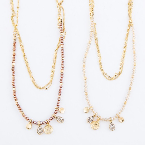 "Layered Coin Necklace Featuring Pave Teardrop Accents.  - Approximately 18"" L  - 3"" Adjustable Extender"