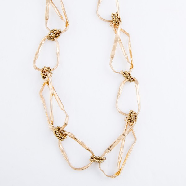 "Geometric Chain Link Statement Necklace in Gold Featuring Beaded Linked Accents.  - Approximately 16"" L  - 3"" Adjustable Extender"