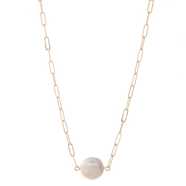 "Hera Link Round Pearl Necklace.  - Pearl .5"" in Diameter - Approximately 16"" L  - 3"" Adjustable Extender"
