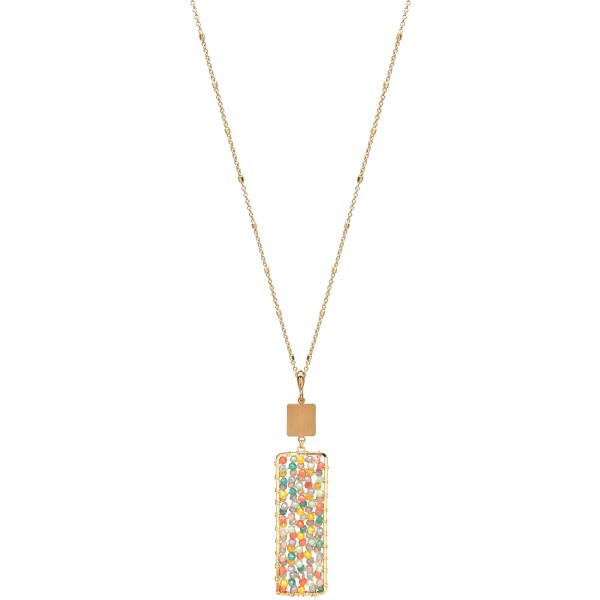 Wholesale long Necklace Wire Beaded Bar Pendant Gold Pendant Long Adjustable Ext