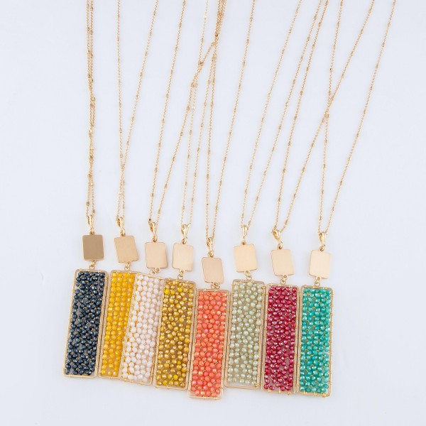 """Long Necklace Featuring Wire Beaded Filled Bar Pendant in Gold.  - Pendant 3.5""""  - Approximately 36"""" Long  - 3"""" Adjustable Extender"""