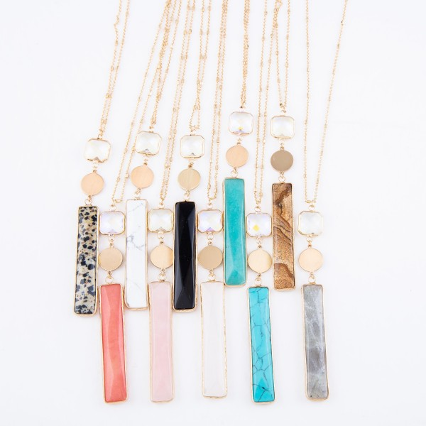 "Long Necklace Featuring Semi Precious Bar Pendant with Iridescent Crystal Accent in Gold.  - Pendant 4"" - Approximately 36"" L - 3"" Adjustable Extender"