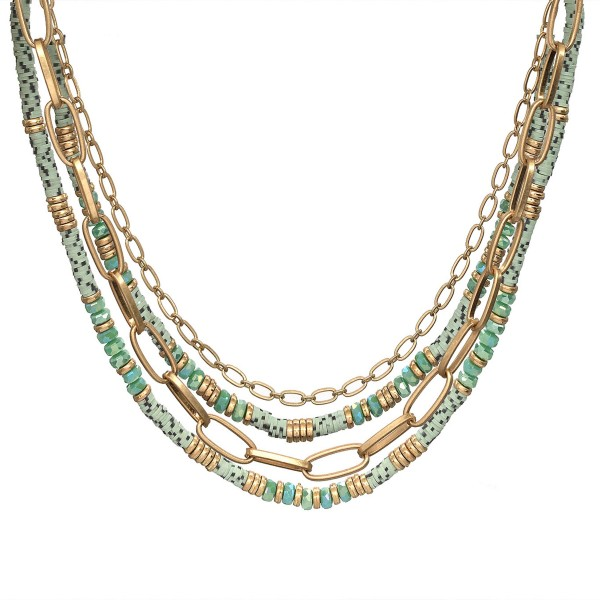 "Layered Polymer Clay Spacer Beaded Chain Link Necklace in Gold.  - Approximately 16"" L  - 3"" Adjustable Extender"