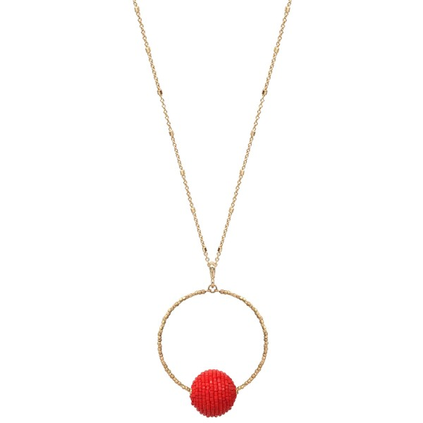 """Long Necklace Featuring Circle Pendant with Seed Beaded Ball Detail.  - Beaded Ball Size 16mm - Pendant Diameter 2.25""""  - Approximately 34"""" Long - 3"""" Adjustable Extender"""