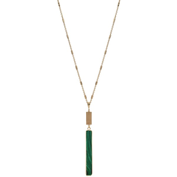 "Long Necklace Featuring Semi Precious Bar Pendant in Gold.  - Bar Pendant 3.5""  - Approximately 36"" Long - 3"" Adjustable Extender"