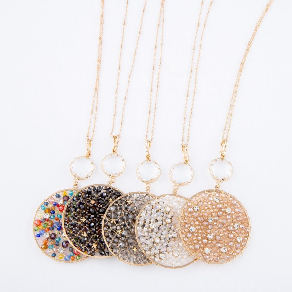 """Long Necklace Featuring Beaded Pendant with Crystal Accent and Rhinestone Details in Gold.  - Pendant (approx) 3"""" L & 2"""" in Diameter - Approximately 36"""" L  - 3"""" Adjustable Extender"""