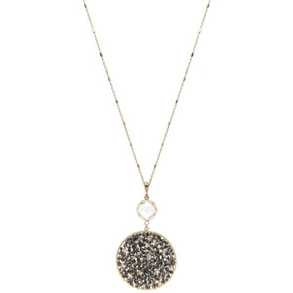 "Long Necklace Featuring Beaded Pendant with Crystal Accent and Rhinestone Details in Gold.  - Pendant (approx) 3"" L & 2"" in Diameter - Approximately 36"" L  - 3"" Adjustable Extender"