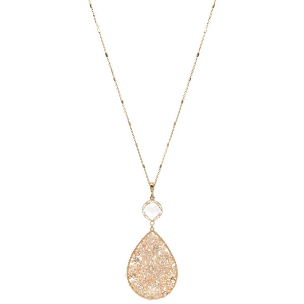 """Long Necklace Featuring Beaded Rhinestone Filled Teardrop Pendant with Crystal Accent.  - Pendant 3.5""""  - Approximately 36' Long  - 3"""" Adjustable Extender"""