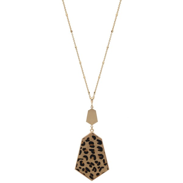 "Long Necklace Featuring Metal Encased Leopard Print Pendant in Gold.  - Pendant 4"" Long - Animal Print - Approximately 36"" Long  - 3"" Adjustable Extender"