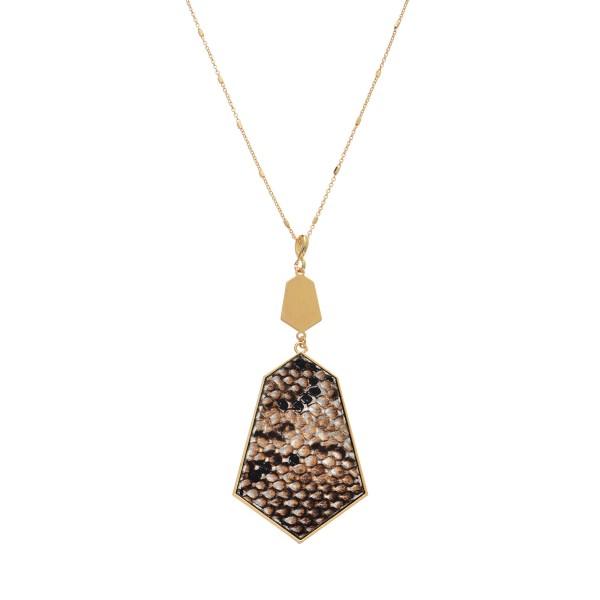Wholesale long Necklace Metal Encased Snakeskin Print Pendant Gold Pendant Long
