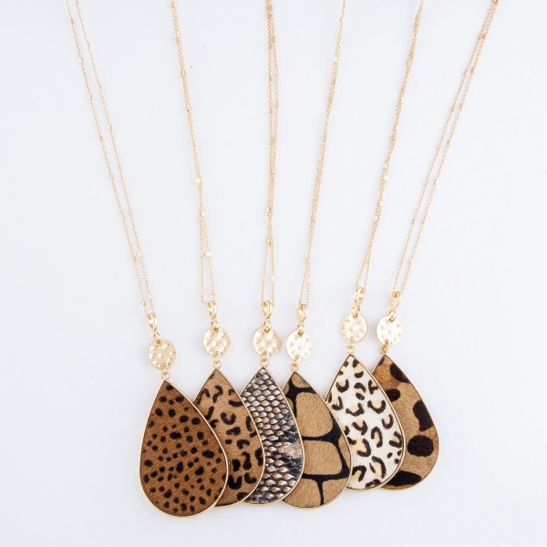 "Metal Encased Leopard Print Teardrop Pendant Necklace in Gold.  - Pendant 3"" - Approximately 36"" L - 3"" Adjustable Extender"