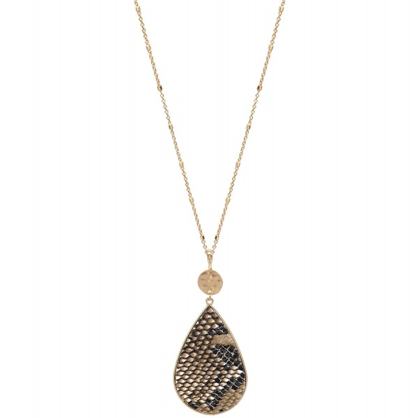 "Metal Encased Snakeskin Teardrop Pendant Necklace in Gold.  - Pendant 3"" - Approximately 36"" L - 3"" Adjustable Extender"