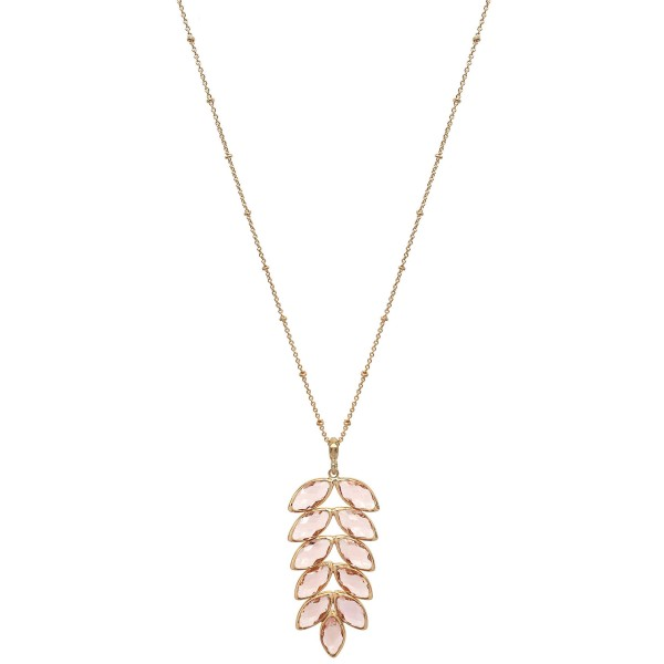 Wholesale long Necklace Crystal Leaf Pendant Gold Pendant Long Adjustable Extend