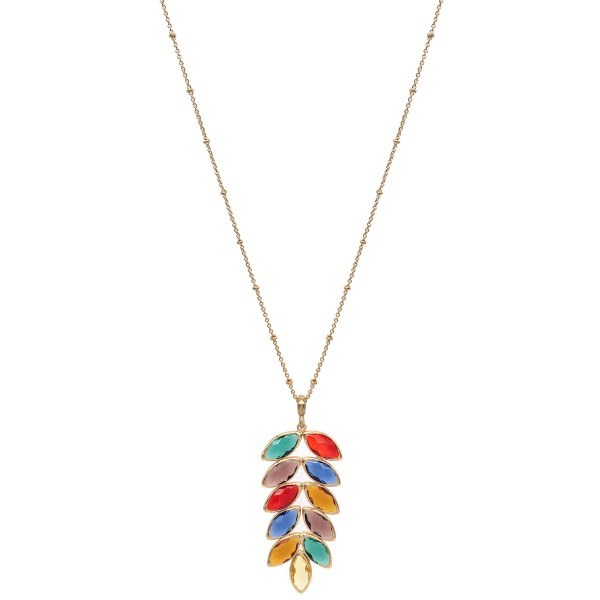 """Long Necklace Featuring Crystal Leaf Pendant in Gold.  - Pendant 2.75""""  - Approximately 34"""" Long - 3"""" Adjustable Extender"""