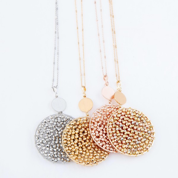 """Long Necklace Featuring Metal Tone Beaded Circle Pendant.  - Pendant 2.5""""  - Approximately 34"""" Long - 3"""" Adjustable Extender"""