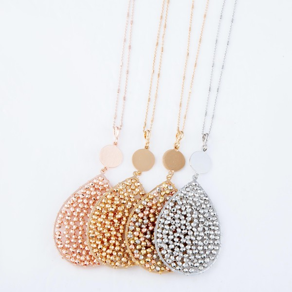 """Long Necklace Featuring Metal Tone Beaded Teardrop Pendant.  - Pendant 3""""  - Approximately 36"""" Long  - 3"""" Adjustable Extender"""