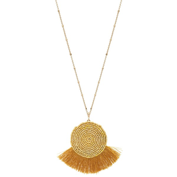 """Long Necklace Featuring Seed Beaded Tassel Pendant in Gold.  - Pendant 2.25"""" x 3""""  - Approximately 34"""" Long - 3"""" Adjustable Extender"""
