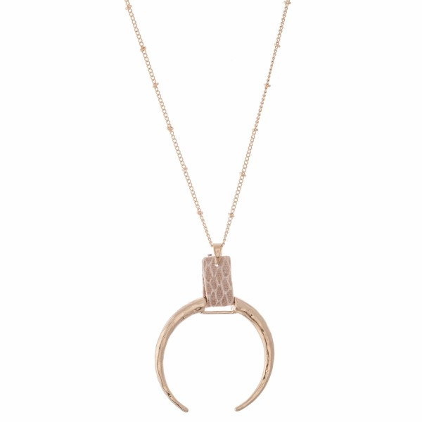 """Hammered Crescent Pendant Necklace in Gold Featuring Animal Print Cuff Detail.  - Pendant (approx) 2.5""""  - Approximately 34"""" L  - 3"""" Adjustable Extender"""
