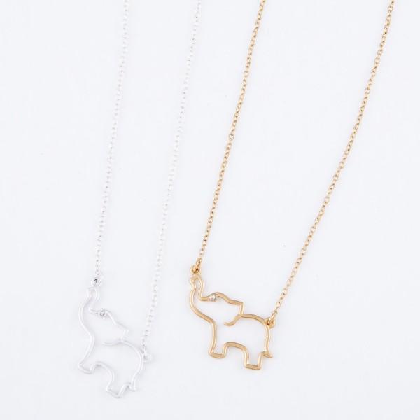 "Elephant Cut Pendant Necklace Featuring Rhinestone Accent.  - Pendant 1.25""  - Approximately 16"" L  - 3"" Adjustable Extender"