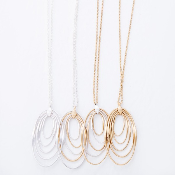 "Metal Oval Layered Pendant Necklace.  - Pendant 2.5""  - Approximately 34"" L  - 3"" Adjustable Extender"