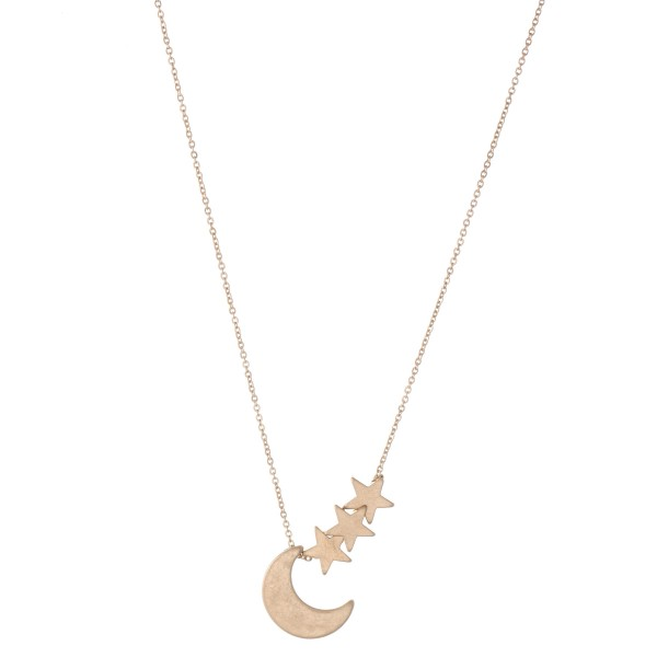 "Moon Pendant Necklace Featuring Star Accents.  - Approximately 16"" L  - 3"" Adjustable Extender"