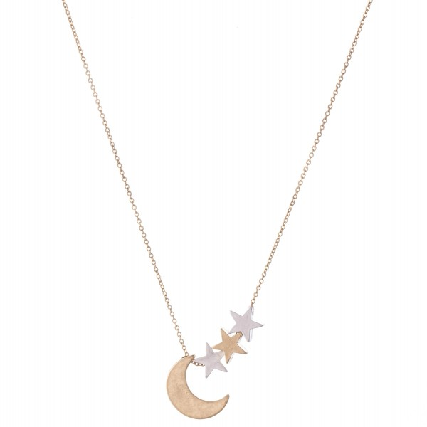 "Two Tone Moon Pendant Necklace Featuring Star Accents.  - Approximately 16"" L  - 3"" Adjustable Extender"