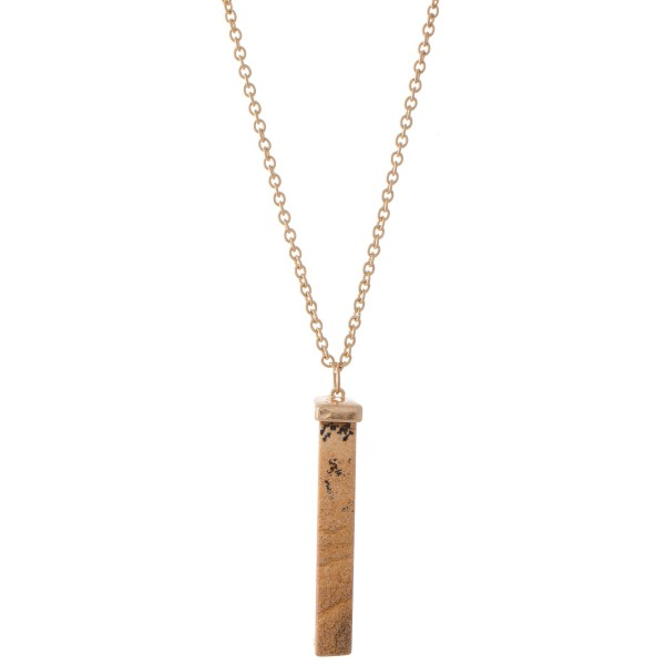 "Natural Stone Bar Pendant Necklace.  - Pendant 2.5""  - Approximately 36"" L  - 3"" Adjustable Extender"