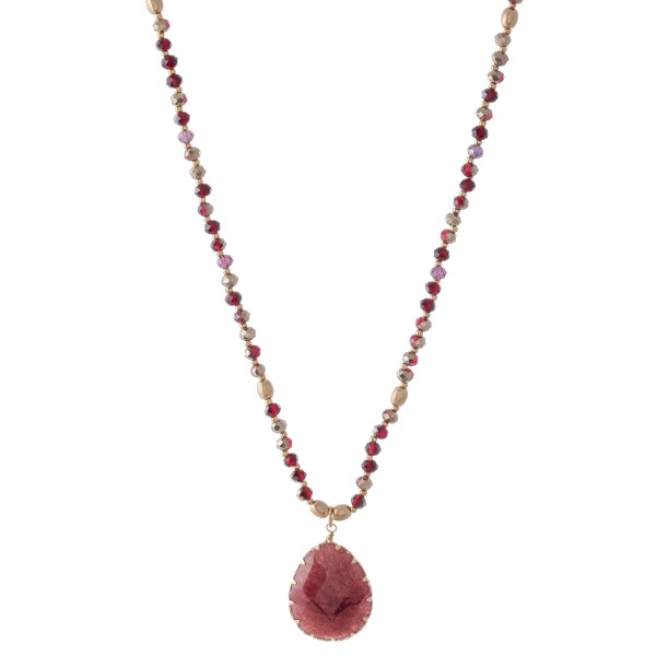 "Semi Precious Beaded Teardrop Pendant Necklace.  - Approximately 20"" L  - 3"" Adjustable Extender"