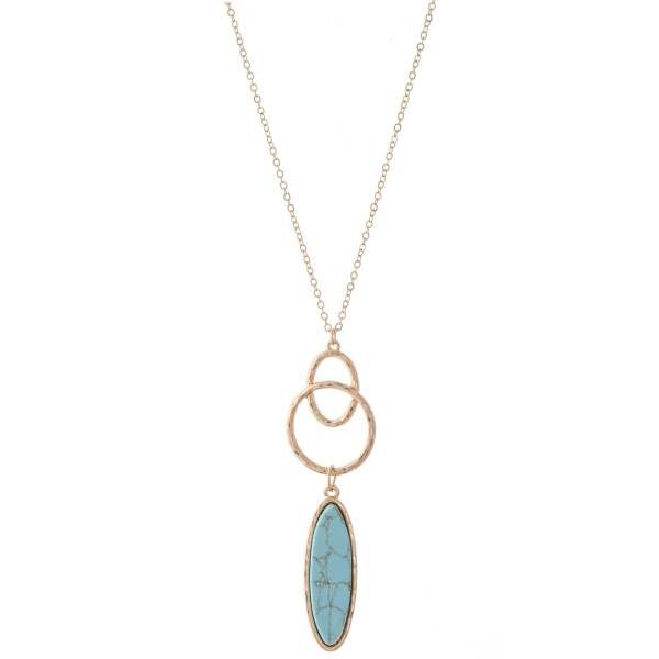 "Long Necklace Featuring a Semi Precious Link Pendant.  - Pendant 3""  - Approximately 34"" L - 3"" Adjustable Extender"