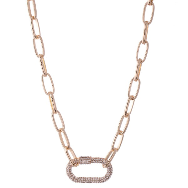 "Rhinestone Carabiner Chain Link Necklace.  - Approximately 16"" L  - 3"" Adjustable Extender"