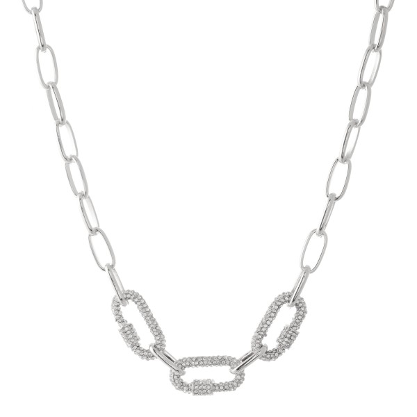 "Rhinestone Carabiner Chain Link Necklace.  - Approximately 18"" L  - 3"" Adjustable Extender"
