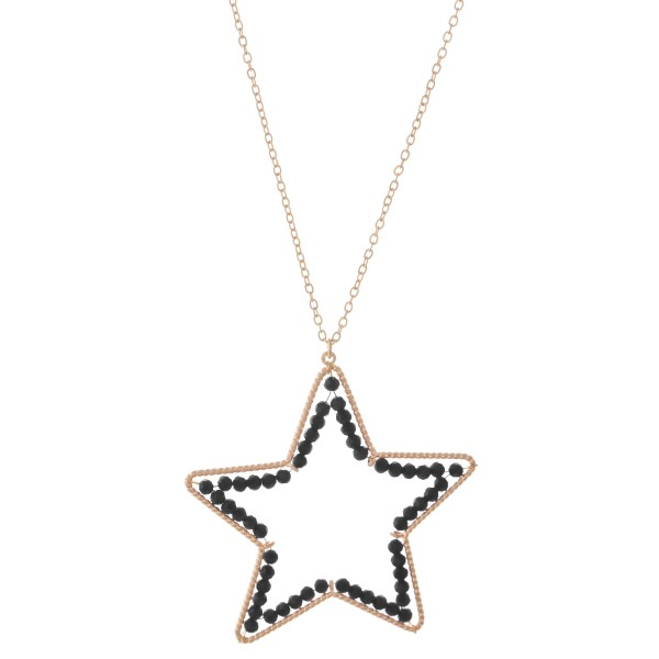 """Long Necklace in Gold Featuring Inner Beaded Star Pendant.  - Pendant (approx) 2"""" - Approximately 34"""" L - 3"""" Adjustable Extender"""